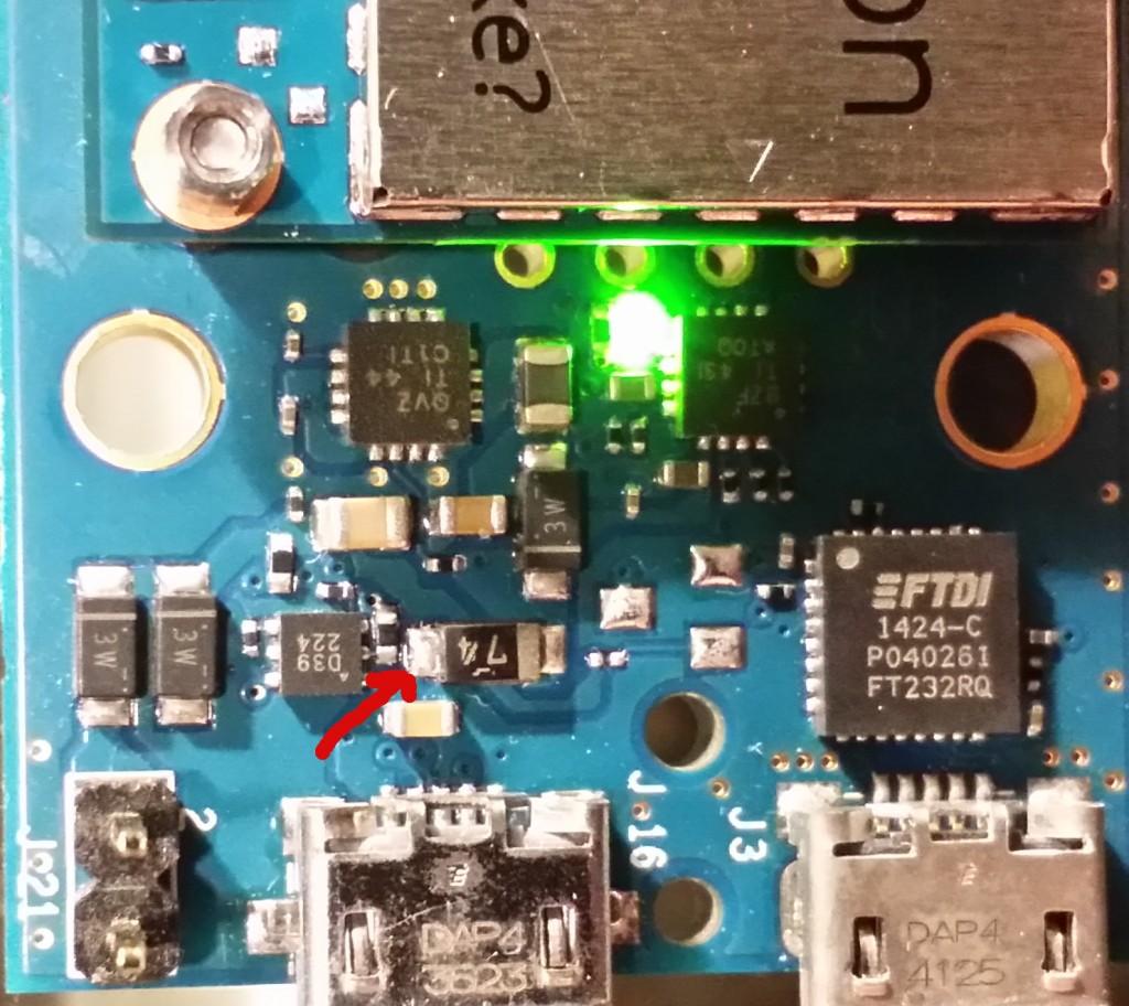 Intel Edison measuring USB voltage on breakout board