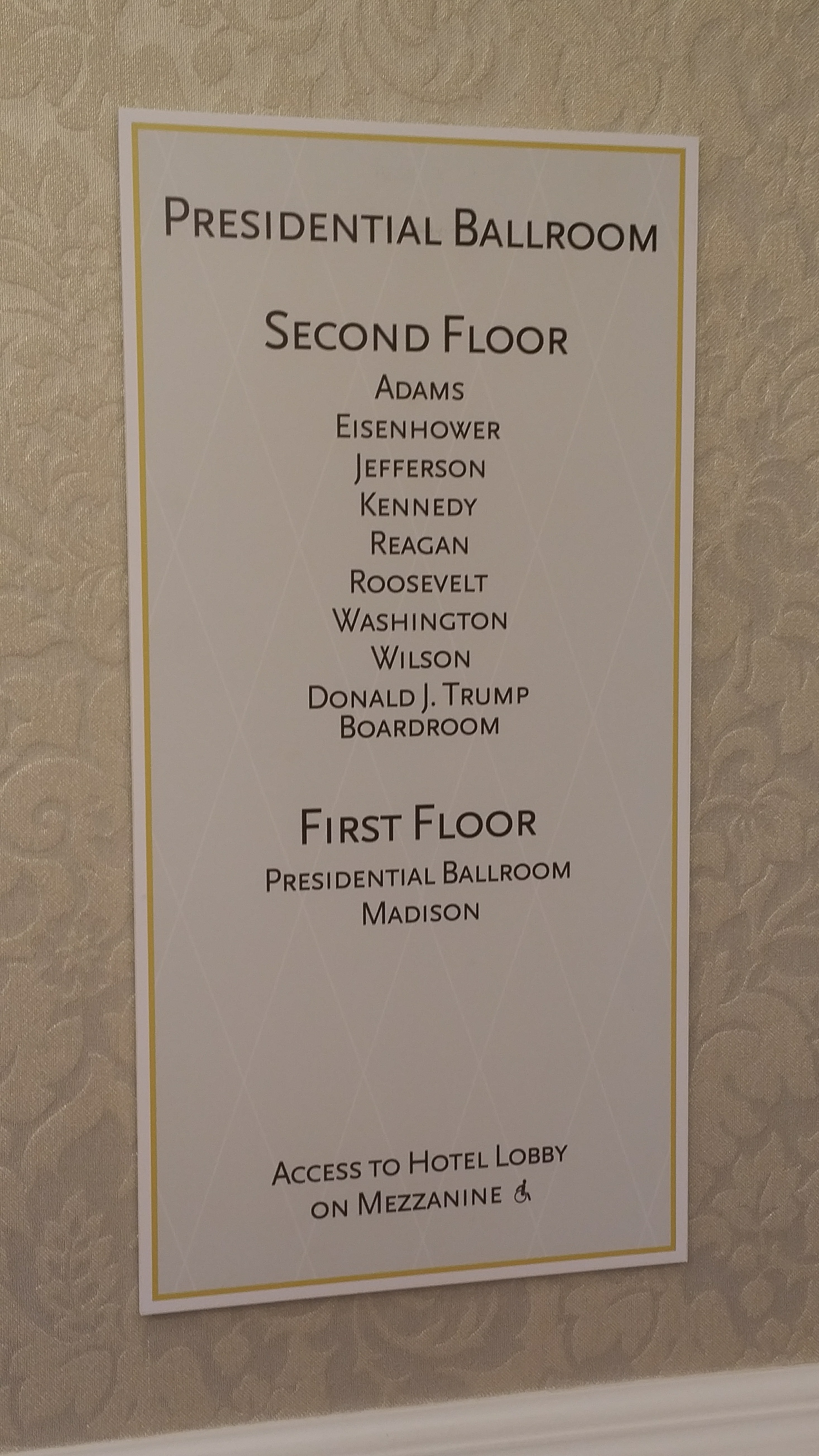 directory for Trump International Hotel ballrooms
