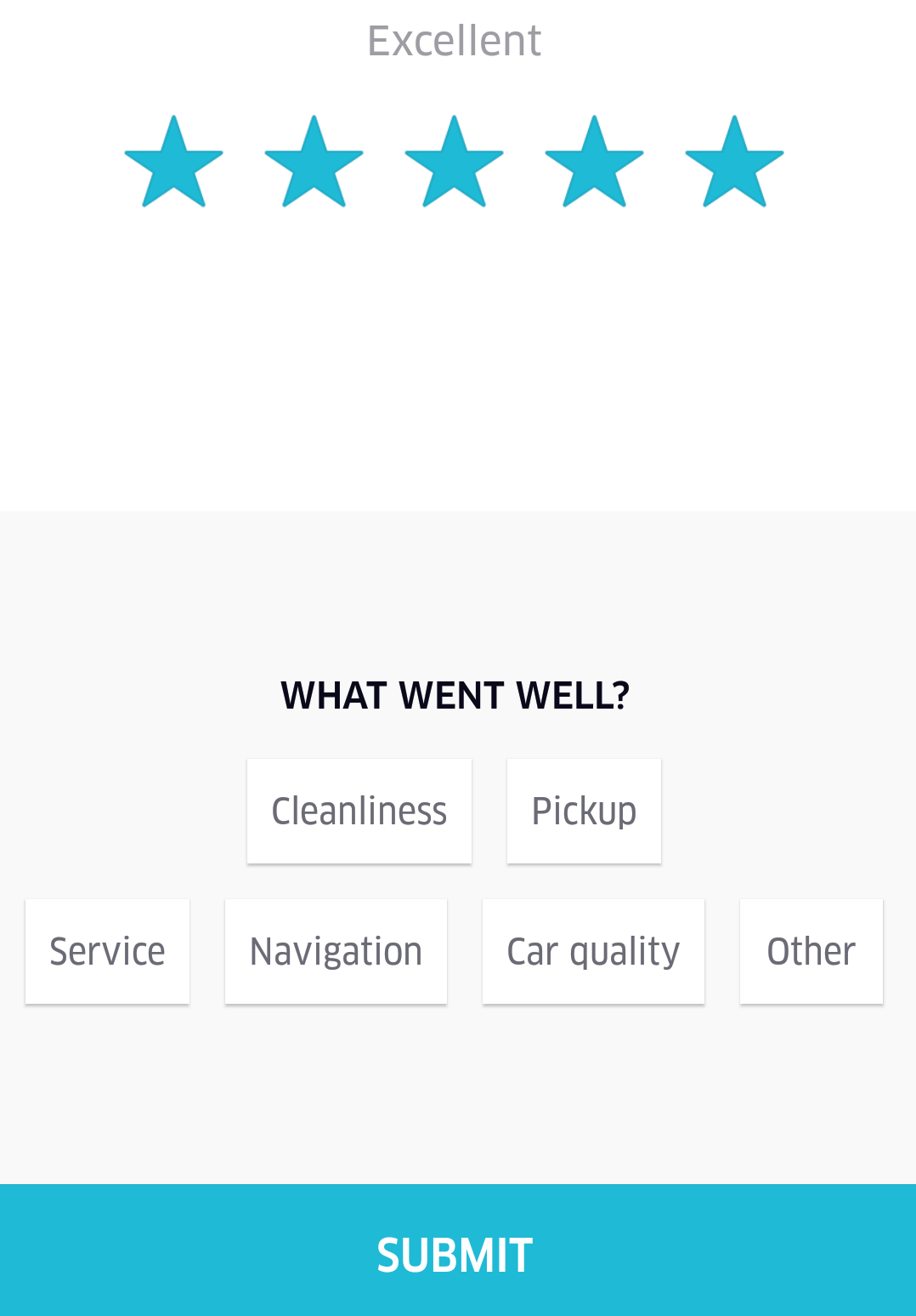 Uber driver feedback screen categories