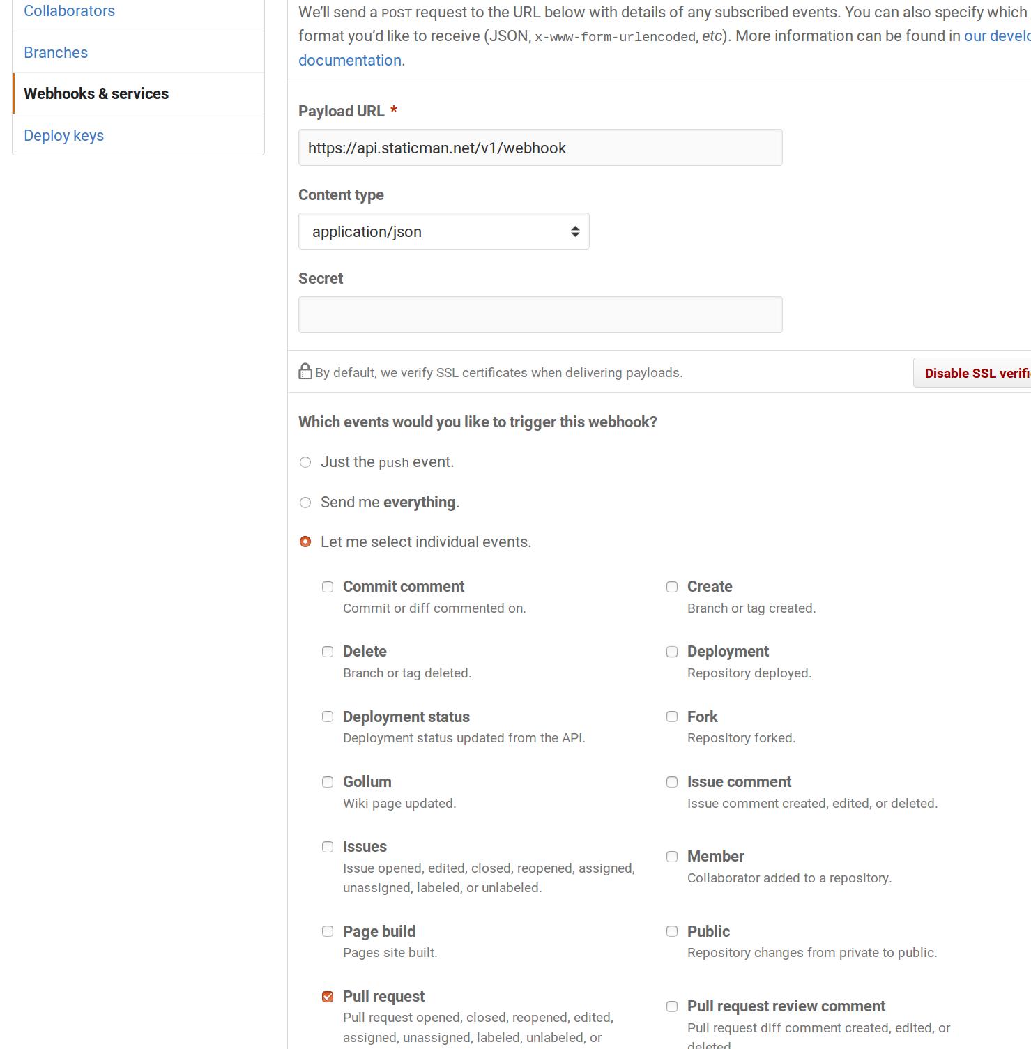 Github webhook configuration page
