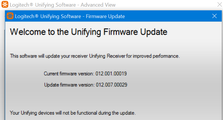 Logitech Unifying receiver firmware Update screen